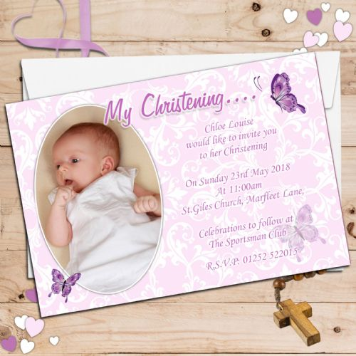 10 Personalised Christening Baptism PHOTO Invitations N68